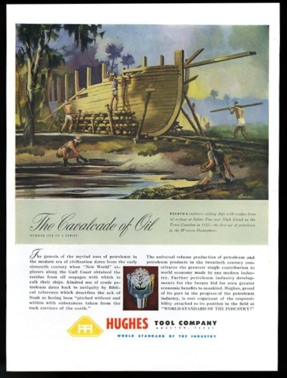 1948 Howard Hughes oil well tool company explorer DeSoto Texas in 1543 art ad