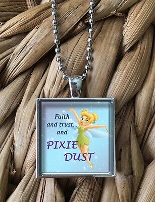 Tinkerbell Disney Magic Pixie Dust Fairy Glass Pendant Silver Chain Necklace NEW - Pixie Dust Necklace