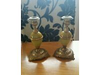 Candle holders marble effect brass
