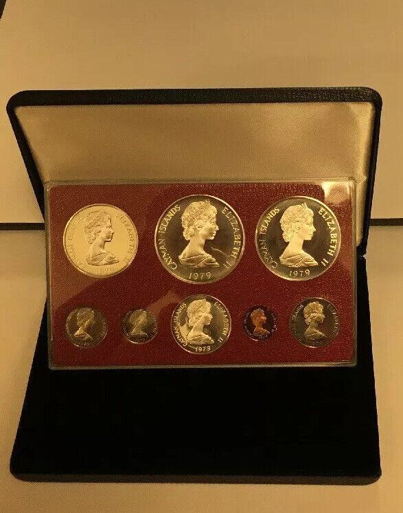 CAYMAN ISLANDS ~ 1979 ~ PROOF SET ~ 8 COINS ~ BOX & COA -3 SILVER COINS