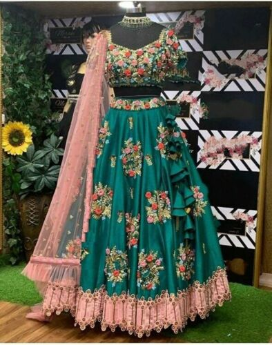 Indian Pakistani Party Wear Green Lehenga Wedding Bridal Bollywood Lengha Choli