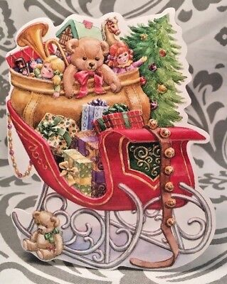 Vintage Sleigh Filled Packages Embossed Christmas Wishes Card New W/ (Filled Sleigh)