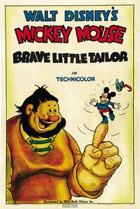 Brave-Little-Tailor-1938-Mickey-Mouse-Walt-Disney-cartoon-movie-poster-print