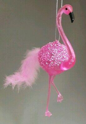 Flamingo Christmas Ornament - Pink Flamingo Ornament Feathers Bird 6.5
