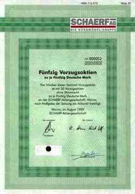 SCHAERF Büromöbel 1989 Worms Gründeraktie Samas Holland 2500 DM Gewinnanteile