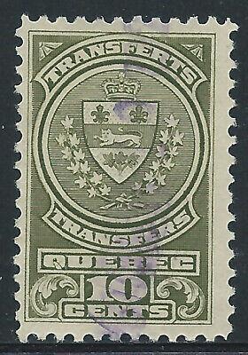 Canada #QST12(4) 1913 10 cent olive QUEBEC REGISTRATION BILINGUAL Used