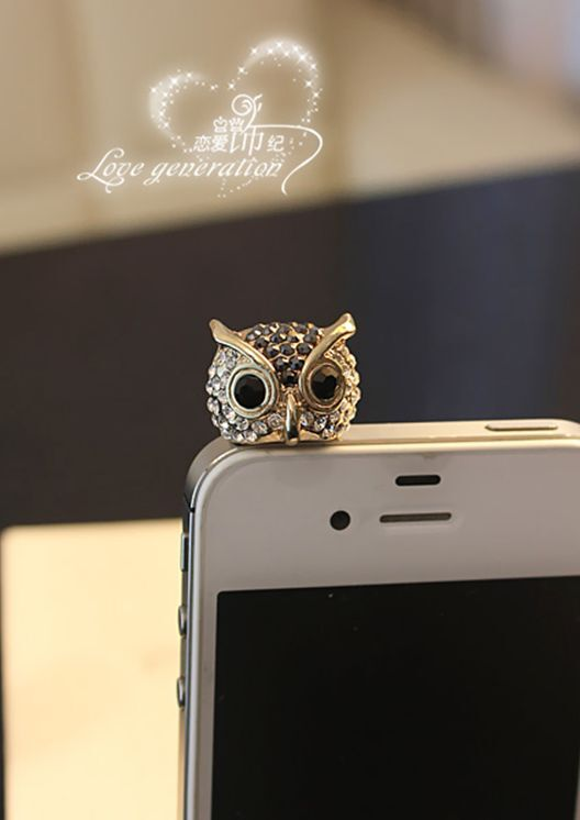 Adorable Black Owl Anti Dust Plug Cover Charm for Iphone/Android 3.5mm