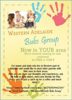 FREE COMMUNITY BUBS GROUP ADELAIDE Woodville Charles Sturt Area Preview