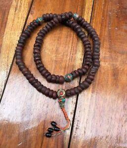 Old Lotus Seed Small 9mm Mala with Inlaid Tibetan Beads 108 Mantra Meditation