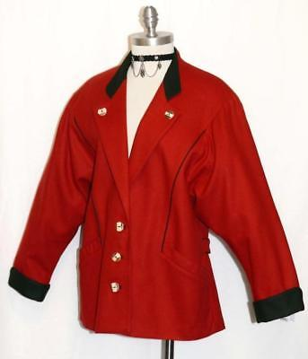 "BAVARIA LODEN Boiled WOOL JACKET Riding Coat RED Women AUSTRIA Winter / B42"" M"