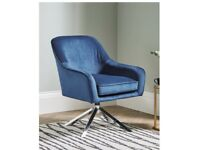 NEW STUNNING BLUE VELVET SWIVEL ACCENT ARMCHAIR I HAVE 2 AVAILABLE