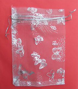 10 xWHITE Silver Butterly Organza Gift Bags small 12x9 cm  jewellery UK seller