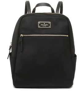 $125 AUTHENTIC KATE SPADE MEDIUM BLACK BACKPACK VINYL/LEATHER A+
