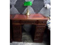 Stunning Ladies Chesterfield Double Pedestal Desk Red Leather Top - UK Delivery