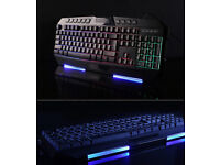 New Genius K20 GX Scorpion 7 Colours Backlight Gaming Multimedia Keyboard USB Wired High Quality