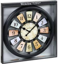 Wall Clock Analog Novelty Round Pastel Colored Mosaic See Through Spoke Pattern
