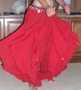 PERFECT RED ENDLESS WAVE HAREM PANTS, BELLY DANCE HEAVY CHIFFON, ELASTIC WAIST,