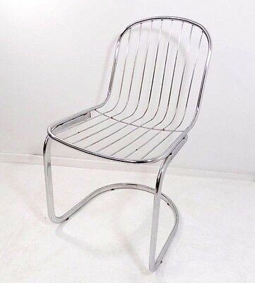 Vintage modern metal chrome cantilevered chair with wired supports