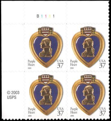 US #3784 MNH plate block of 4, 37c Purple Heart