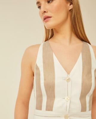 Ivy & Oak Beige/Ivory Stripe Buttoned Top - Size: 36 (UK 6)