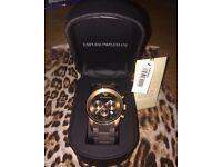Emporio Armani Watch| uni-sex| Brown Gold| Sports Strap| Authentic