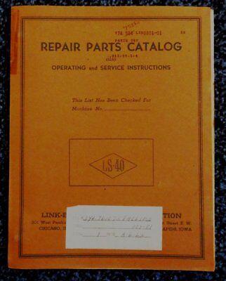 Vintage 1962 Link-belt Speeder Crane Model Ls-40 Repair Parts Catalog