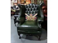 Stunning Chesterfield Dellbrook Queen Anne Wing Back Chair in Green Leather - UK Delivery