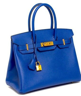 Hermes Blue Electric Birkin Bag 30cm Epsom Gold 18yrs on eBay