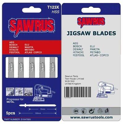 5 X Sawrus Jigsaw Blades T123x For Metal Fits Bosch Dewalt Hitachi Makita Metabo