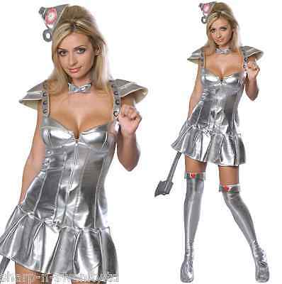 Damen Sexy Wizard Of oz Tinwoman Tinman Halloween Kostüm Kleid (Damen Wizard Of Oz Kostüm)