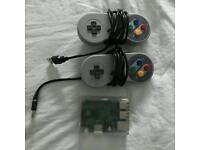 Raspberry Pi fully loaded with Retropie & 2 SNES controllers