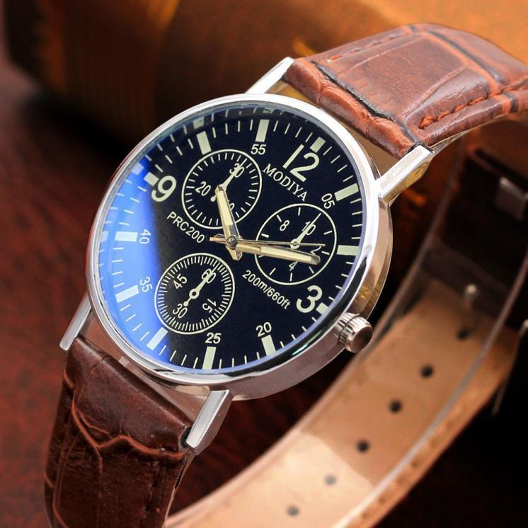 Men's Luxury Casaul Watches Quartz Analog Blue Glass Leather Band Wrist Watch
