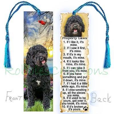 Black PORTUGUESE WATER DOG Large BOOKMARK w/ Tassel Property RULES Book Art CARD