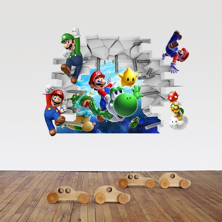 Home Decoration - US 3D Wall Stickers Super Mario Cartoon Room Decal Wallpaper Removable