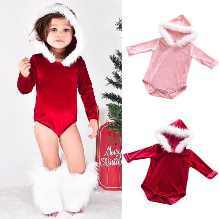 Christmas Newborn Infant Girl Long Sleeve Solid Fur Flock Jumpsuit Romper Outfit