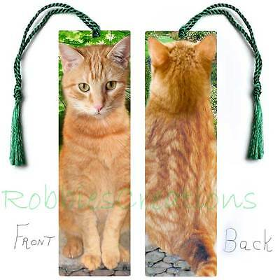 GINGER CAT Large BOOKMARK TASSEL Art Book Mark CARD Orange Tabby kitten figurine for sale  Shipping to Canada