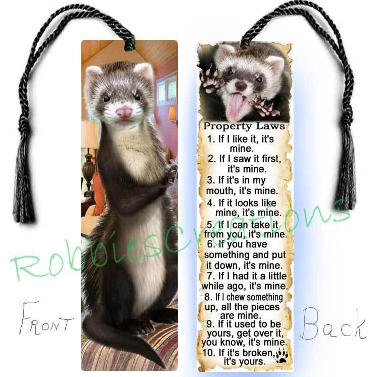 FERRET Large Book BOOKMARK Tassel FUN Pet RULES Property ARTBook CARD-Not Toy