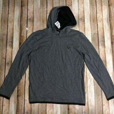 Versace Italia Mens Lightweight Grey Hooded Pullover Henley Shirt M LS