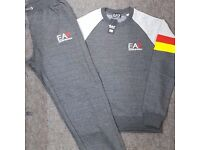 Charcoal Grey LT Grey & Red Jogging Tracksuit