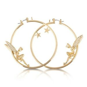 Disney Tinker Bell Yellow Gold Plated Hoop Earrings (Adults) Burton Salisbury Area Preview