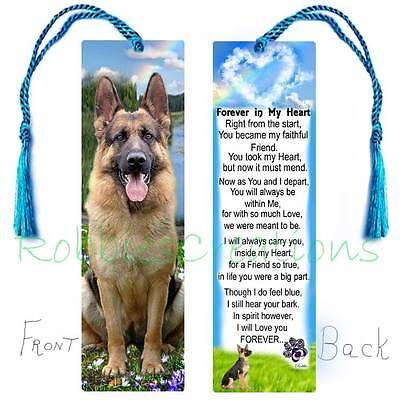 "GERMAN SHEPHERD Bereavement ANY BREED BOOKMARK 6"" Memorial Dog PET Keepsake CARD"