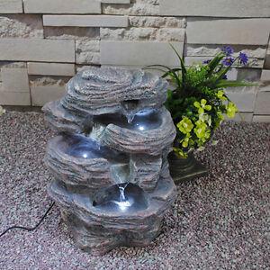 Gartenbrunnen Brunnen Springbrunnen Niagara Zimmerbrunnen mit 3x LED Beleuchtung