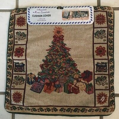 16 X 16 Needlepoint Style Pillow Cushion Cover Holiday Christmas Tree New Square