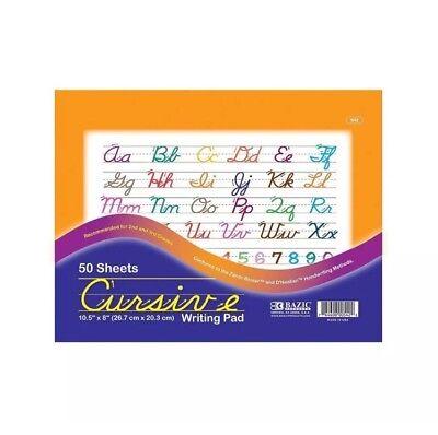 Bazic Cursive Writing Pad 10.5 X 8 Inches - 50 Sheets Per Pack - New