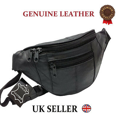GENUINE REAL LEATHER BUM BAG MONEY WAIST BELT FANNY PACK HOLIDAY FESTIVAL WALLET ()