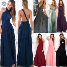Boohoo blue multi way maxi dress size 10