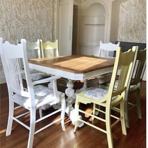 Chalk painted antique table and chairs