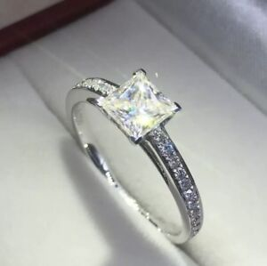 STAMPED 925 SILVER CUBIC ZIRCONIA PRINCESS CUT ENGAGEMENT RING