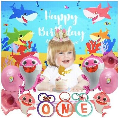 Baby First Birthday Decorations (Baby Shark First 1st Birthday Decorations Banner Crown Balloon Backdrop And)