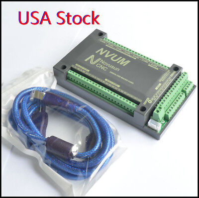 Us 6 Axis Usb Mach3 Motion Control Card 200khz Cnc Interface Breakout Board Nvum